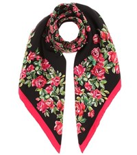 Dolce And Gabbana Patterned Silk Scarf Black