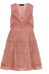 Burberry Embroidered Honeycomb Mesh Mini Dress Antique Rose