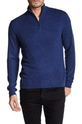 Qi Cashmere Half Zip Sweater Blue