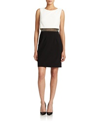 Betsy And Adam Rhinestone And Mesh Popover Dress Black White