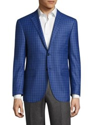 Corneliani Virgin Wool Regular Fit Checkered Jacket Blue