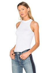 Enza Costa Rib Mock Neck Tank White