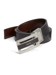 Bally Reversible Plaque Buckle Belt Black Brown