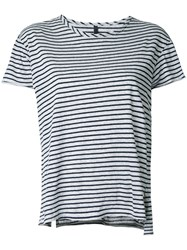 Nobody Denim Organic Fine Stripe Basic Tee Women Organic Cotton L Grey