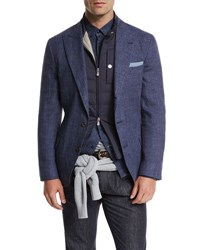 Brunello Cucinelli Deconstructed Peak Lapel Three Button Sport Jacket Bright Blue