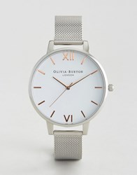 Olivia Burton Silver Large White Dial Mesh Watch Silver