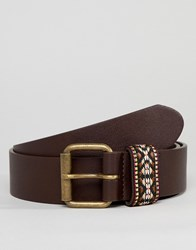 Asos Design Festival Faux Leather Wide Belt In Brown With Aztec Embroidered Keeper