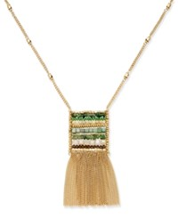 Inc International Concepts Gold Tone Woven Bead Fringe Pendant Necklace Only At Macy's Green