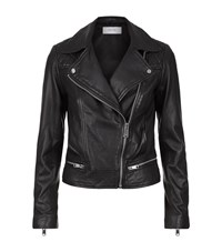 Reiss Frith Quilted Leather Biker Jacket Female Black