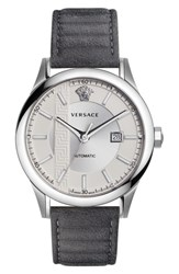 Versace Men's Aiakos Automatic Leather Strap Watch 44Mm Grey Silver