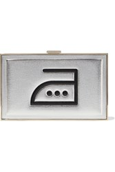Anya Hindmarch Imperial Iron Metallic Embossed Textured Leather Box Clutch Silver