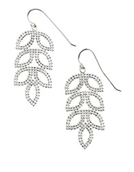 Lord And Taylor Sterling Silver Mesh Leaf Drop Earrings
