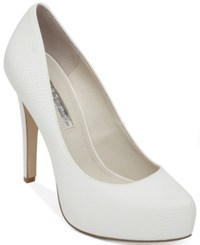 Bcbgeneration Parade Platform Pumps Women's Shoes White Snake