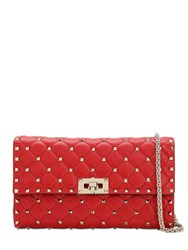 Valentino Spike Embellished Leather Clutch Rouge Pur