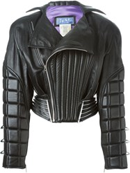 Thierry Mugler Vintage Leather Padded Bomber Jacket Black