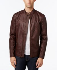 American Rag Men's Faux Leather Motorcycle Jacket Only At Macy's Cognac