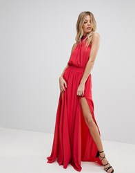 The Jetset Diaries Shale Thigh Split Maxi Dress Red