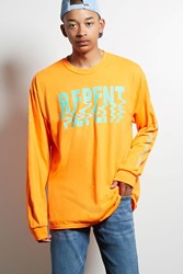 Forever 21 Human Condition Repent Tee Orange Teal