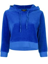 Juicy Couture Swarovski Personalisable Velour Hooded Pullover Blue
