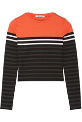 Alexander Wang T By Striped Stretch Cotton Jersey Top Bright Orange