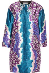 Peter Pilotto Printed Silk Twill Coat Teal