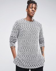 Asos Heavyweight Longline Jumper With Stepped Hem In Viscose Mix Black And White Twist Grey