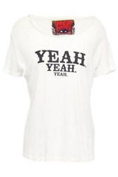 Rockins Woman Printed Cotton Jersey T Shirt Off White Off White