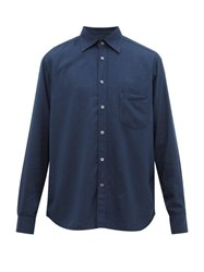 The Gigi Garment Dyed Cotton Blend Twill Shirt Navy