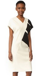 Narciso Rodriguez Cap Sleeve V Neck Dress Gesso Black