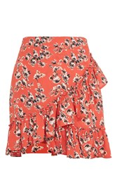 Topshop Tall Red Floral Ruffle Skirt Red