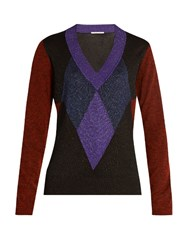 Marco De Vincenzo Diamond Intarsia V Neck Sweater Purple Multi