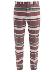 Connolly Striped Cotton Poplin Tailored Trousers Red