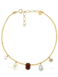 Ca And Lou Clotilde Stone Crystal Necklace Gold