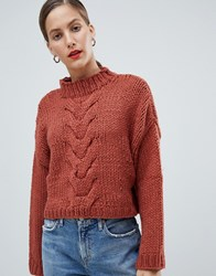 Native Youth Premium Hand Knitted Cropped Cable Knit Jumper Red