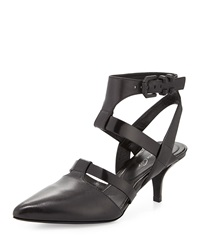 Kenneth Cole New York Pence Leather Strappy Ankle Wrap Pump Black
