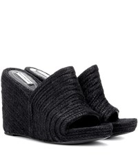 Balenciaga Espadrille Wedge Sandals Black