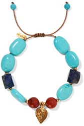 Chan Luu Corded Gold Tone Bead And Stone Bracelet Turquoise