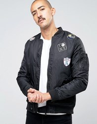 Brave Soul Ma1 Badge Bomber Jacket Black