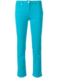 Roberto Cavalli Cropped Trousers Cotton Polyester Spandex Elastane Blue