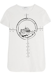 Max Mara Printed Cotton Jersey T Shirt White