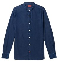Isaia Slim Fit Grandad Collar Cotton Chambray Shirt Blue