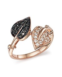 Bloomingdale's White Diamond And Black Diamond Leaf Wrap Ring In 14K Rose Gold
