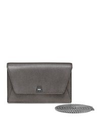 Anouk Leather Clutch Bag W Chain Gray Metallic Akris