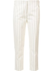 Victoria Beckham Straight Cropped Trousers Nude Neutrals