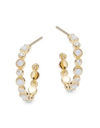 Tai Opal And Stone Accented Sterling Silver Hoop Earrings