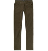 Tom Ford Slim Fit Stretch Cotton Moleskin Trousers Army Green