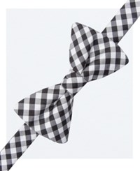 Countess Mara Men's Gingham Pre Tied Bow Tie And Pocket Square Set Black