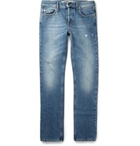 Mcq By Alexander Mcqueen Slim Fit Distressed Denim Jeans Blue