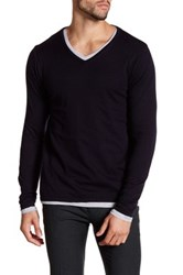 Scotch And Soda V Neck Layered Sweater Black