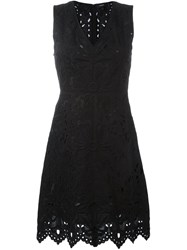 Theory Embroidered V Neck Dress Black